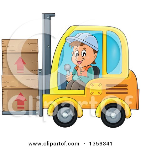 Clipart of a Cartoon Caucasian Male Construction Worker Moving Boxes on a Forklift - Royalty Free Vector Illustration by visekart