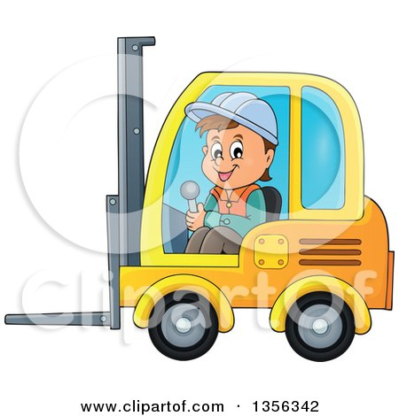 Clipart of a Cartoon Caucasian Male Construction Worker Operating a Forklift - Royalty Free Vector Illustration by visekart