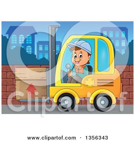 Clipart of a Cartoon Caucasian Male Construction Worker Moving a Box on a Forklift - Royalty Free Vector Illustration by visekart