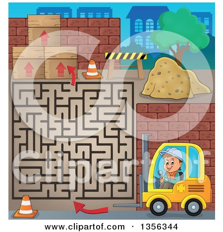 Clipart of a Cartoon Caucasian Male Construction Worker Operating a Forklift on a Maze Game - Royalty Free Vector Illustration by visekart