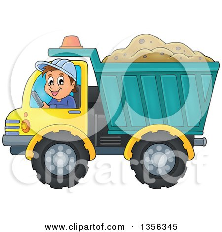 Clipart of a Cartoon Caucasian Male Construction Worker Moving a Load of Sand in a Dump Truck - Royalty Free Vector Illustration by visekart