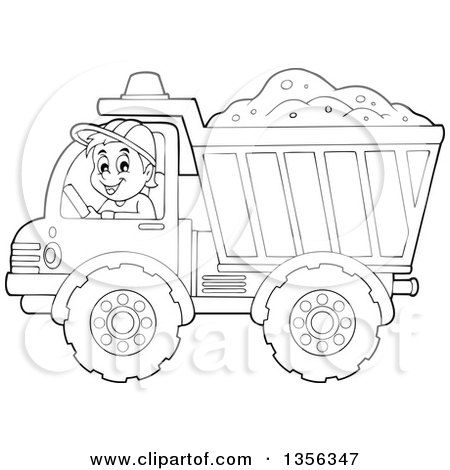 Clipart of a Cartoon Black and White Male Construction Worker Moving a Load of Sand in a Dump Truck - Royalty Free Vector Illustration by visekart