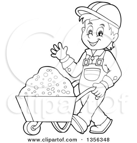 Clipart of a Cartoon Black and White Construction Worker Moving Sand in a Wheelbarrow - Royalty Free Vector Illustration by visekart
