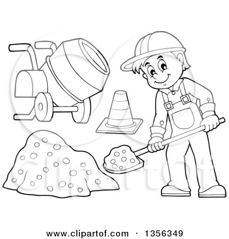 Clipart of a Cartoon Black and White Male Construction Worker Shoveling, with a Cone and Concrete Mixer - Royalty Free Vector Illustration by visekart