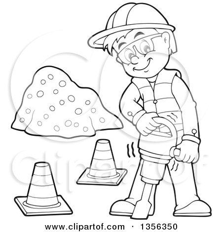 Clipart of a Cartoon Black and White Male Construction Worker Using a Jackhammer - Royalty Free Vector Illustration by visekart
