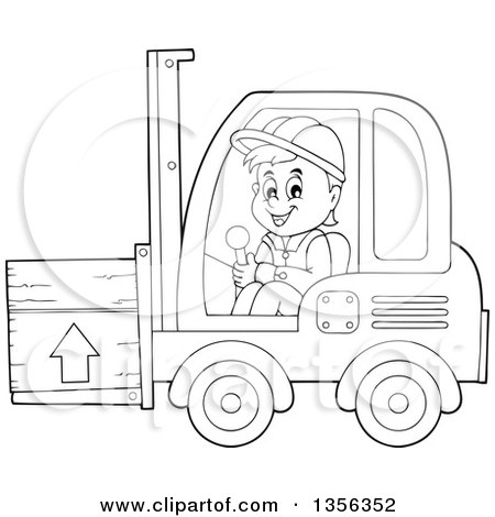 Clipart of a Cartoon Black and White Male Construction Worker Operating a Forklift - Royalty Free Vector Illustration by visekart