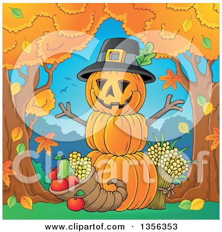 Clipart of a Stack of Pumpkins with a Thanksgiving Cornucopia Between Autumn Trees - Royalty Free Vector Illustration by visekart