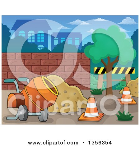 Clipart of a Construction Zone with a Concrete Mixer, Sand and Cones - Royalty Free Vector Illustration by visekart