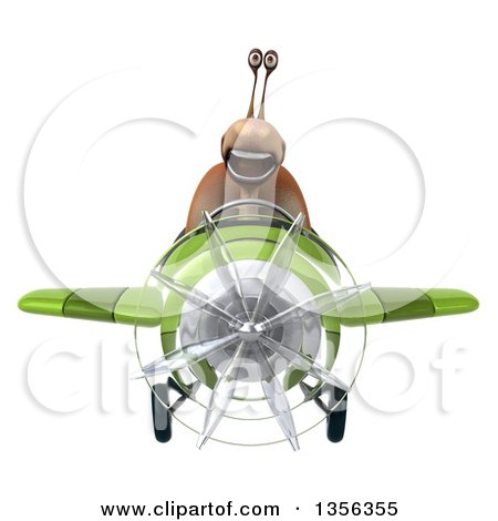 Clipart of a 3d Snail Aviator Pilot Flying a Green Airplane, on a White Background - Royalty Free Illustration by Julos