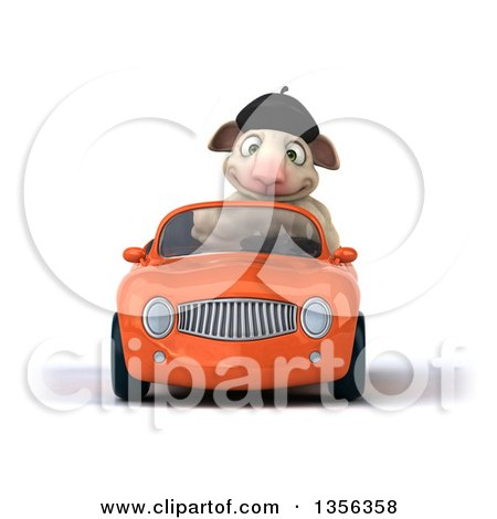 Clipart of a 3d French Sheep Driving an Orange Convertible Car, on a White Background - Royalty Free Illustration by Julos