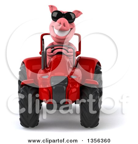 Clipart of a 3d Pig Wearing Sunglasses and Operating a Red Tractor, on a White Background - Royalty Free Illustration by Julos