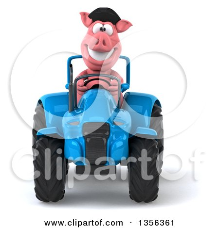 Clipart of a 3d French Pig Operating a Blue Tractor, on a White Background - Royalty Free Illustration by Julos