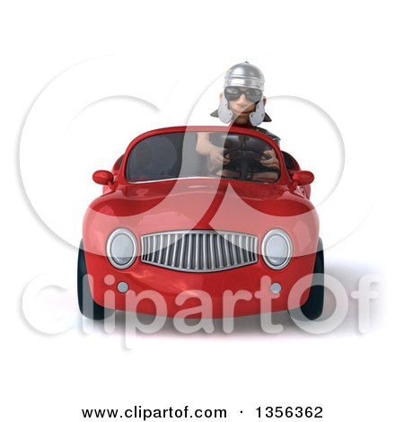 Clipart of a 3d Young Male Roman Legionary Soldier Wearing Sunglasses and Driving a Red Convertible Car, on a White Background - Royalty Free Illustration by Julos