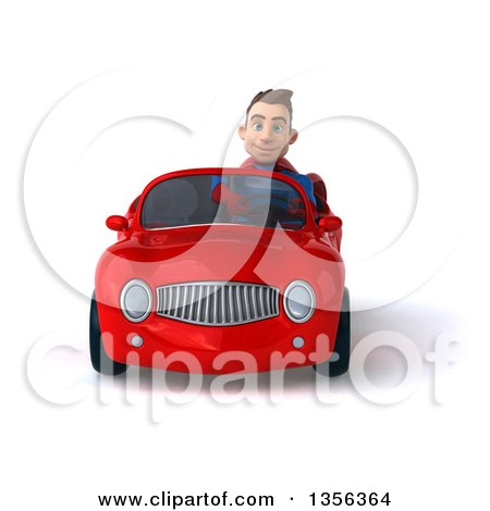 Clipart of a 3d Young Brunette White Male Super Hero Driving a Red Convertible Car, on a White Background - Royalty Free Illustration by Julos