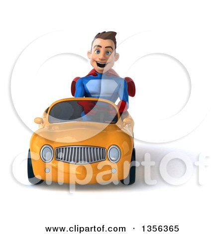 Clipart of a 3d Young Brunette White Male Super Hero Driving a Yellow Convertible Car, on a White Background - Royalty Free Illustration by Julos