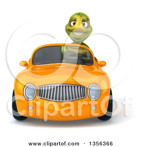 Clipart of a 3d Tortoise Driving an Orange Convertible Car, on a White Background - Royalty Free Illustration by Julos