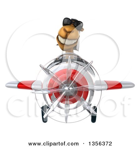 Clipart of a 3d Arabian Camel Aviator Pilot Wearing Sunglasses and Flying a White and Red Airplane, on a White Background - Royalty Free Illustration by Julos
