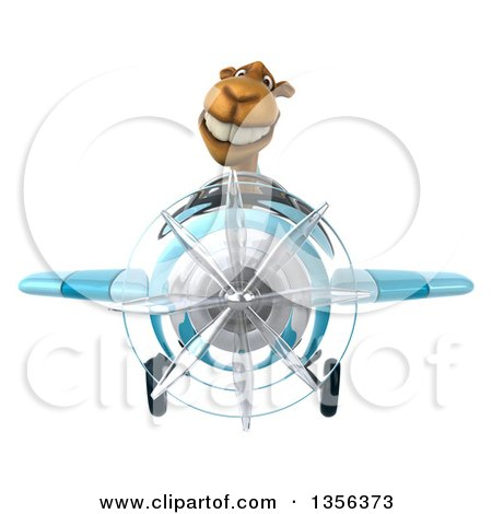 Clipart of a 3d Camel Aviator Pilot Flying a Blue Airplane, on a White Background - Royalty Free Illustration by Julos