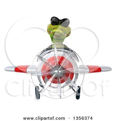 Clipart of a 3d Crocodile Aviator Pilot Wearing Sunglasses and Flying a White and Red Airplane, on a White Background - Royalty Free Illustration by Julos