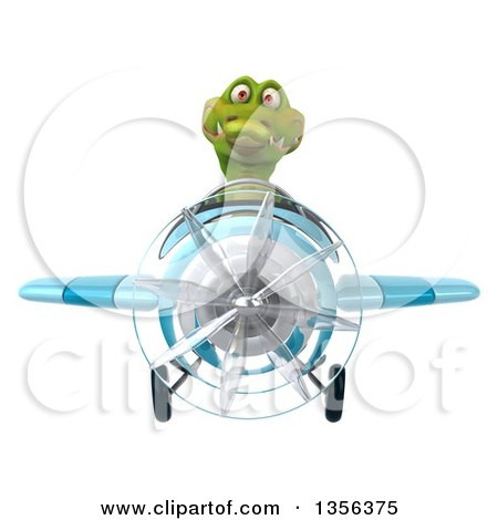 Clipart of a 3d Crocodile Aviator Pilot Flying a Blue Airplane, on a White Background - Royalty Free Illustration by Julos
