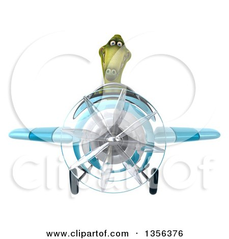 Clipart of a 3d Green Dinosaur Aviator Pilot Flying a Blue Airplane, on a White Background - Royalty Free Illustration by Julos