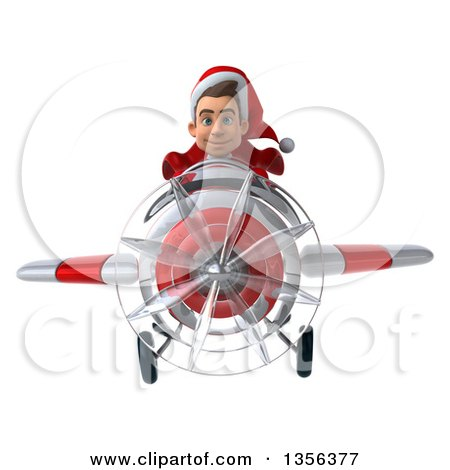Clipart of a 3d Young White Male Super Hero Santa Aviator Pilot Flying a White and Red Airplane, on a White Background - Royalty Free Illustration by Julos