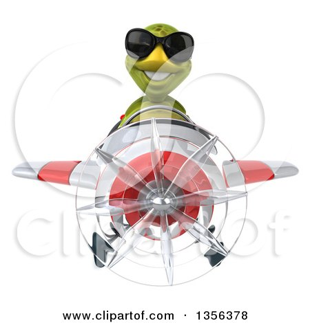 Clipart of a 3d Tortoise Aviator Pilot Wearing Sunglasses and Flying a White and Red Airplane, on a White Background - Royalty Free Illustration by Julos