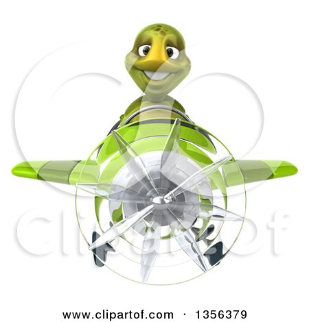 Clipart of a 3d Tortoise Aviator Pilot Flying a Green Airplane, on a White Background - Royalty Free Illustration by Julos