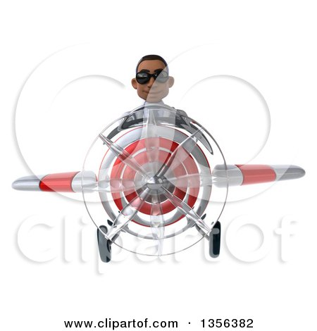 Clipart of a 3d Young Black Male Doctor Wearing Sunglasses and Flying a White and Red Airplane, on a White Background - Royalty Free Illustration by Julos
