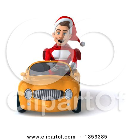 3d Young White Male Super Hero Santa Driving a Yellow Convertible Car, on a White Background Posters, Art Prints