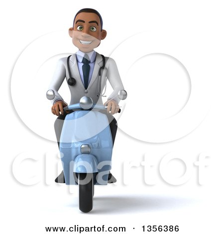 Clipart of a 3d Young Black Male Doctor Riding a Blue Scooter, on a White Background - Royalty Free Illustration by Julos