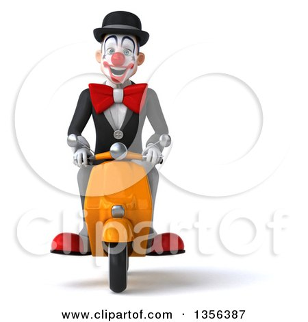 3d White and Black Clown Riding a Yellow Scooter, on a White Background Posters, Art Prints