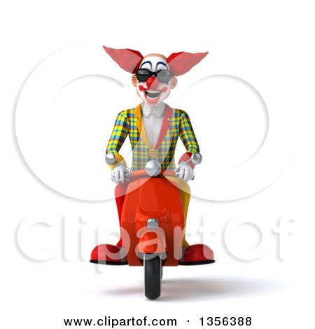 Clipart of a 3d Funky Clown Wearing Sunglasses and Riding an Orange Scooter, on a White Background - Royalty Free Illustration by Julos