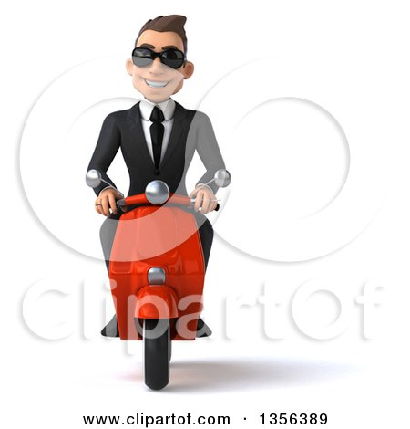 Clipart of a 3d Young White Businessman Wearing Sunglasses and Riding a Red Scooter, on a White Background - Royalty Free Illustration by Julos