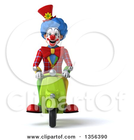 Clipart of a 3d Colorful Clown Riding a Green Scooter, on a White Background - Royalty Free Illustration by Julos