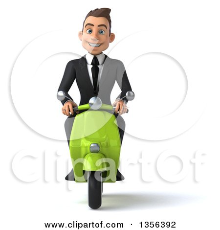 Clipart of a 3d Young White Businessman Riding a Green Scooter, on a White Background - Royalty Free Illustration by Julos