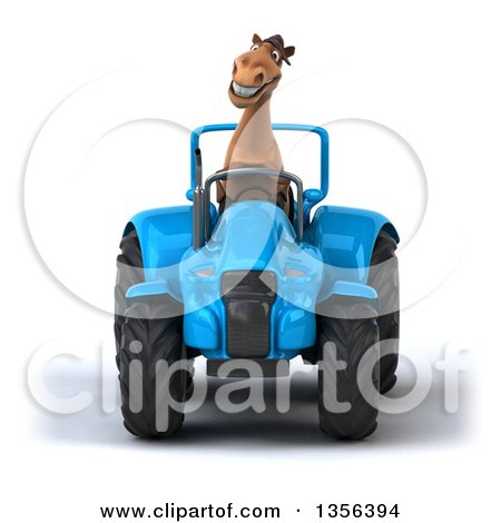 3d Brown Horse Operating a Blue Tractor, on a White Background Posters, Art Prints