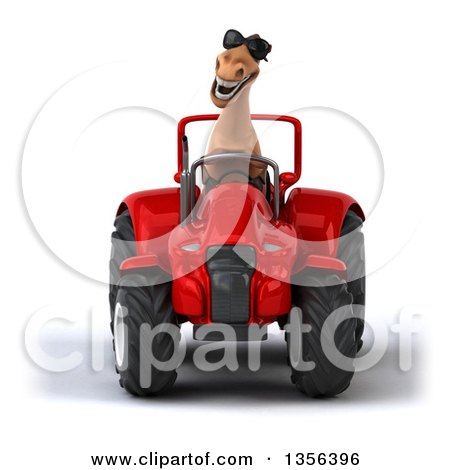 Clipart of a 3d Brown Horse Wearing Sunglasses and Operating a Red Tractor, on a White Background - Royalty Free Illustration by Julos
