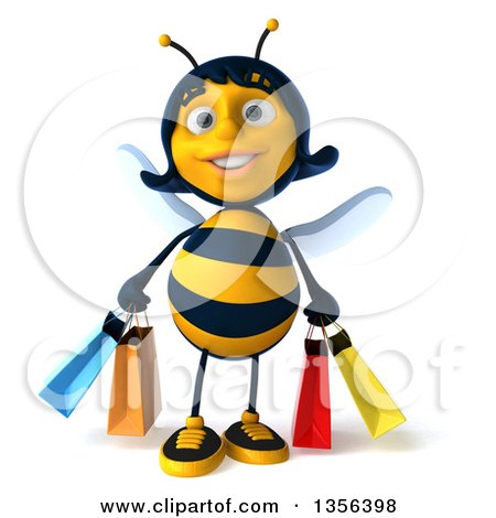 Clipart of a 3d Female Bee Carrying Shopping Bags, on a White Background - Royalty Free Illustration by Julos