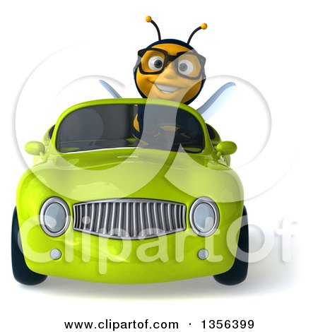 Clipart of a 3d Bespectacled Male Bee Driving a Green Convertible Car, on a White Background - Royalty Free Illustration by Julos