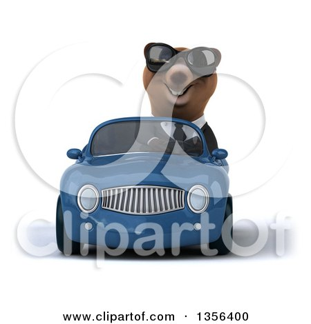 Clipart of a 3d Brown Business Bear Wearing Sunglasses and Driving a Blue Convertible Car, on a White Background - Royalty Free Illustration by Julos
