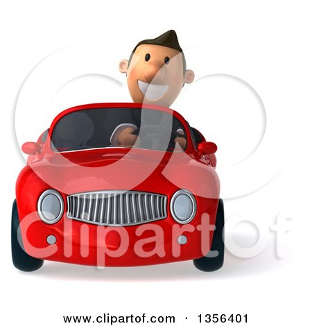 Clipart of a 3d Short White Businessman Driving a Red Convertible Car, on a White Background - Royalty Free Illustration by Julos