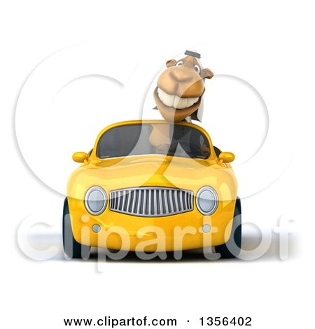 Clipart of a 3d Arabian Business Camel Driving a Yellow Convertible Car, on a White Background - Royalty Free Illustration by Julos
