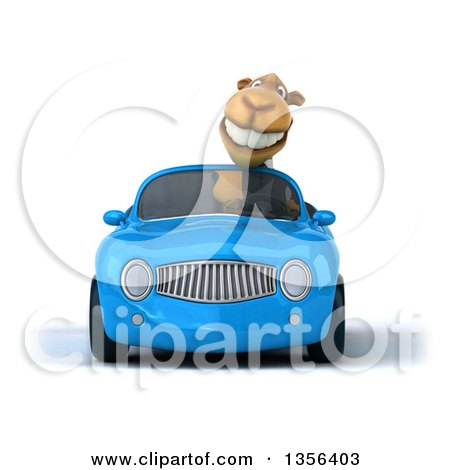 Clipart of a 3d Business Camel Driving a Blue Convertible Car, on a White Background - Royalty Free Illustration by Julos