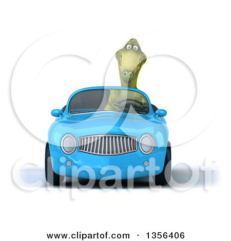 Clipart of a 3d Green Dinosaur Driving a Blue Convertible Car, on a White Background - Royalty Free Illustration by Julos