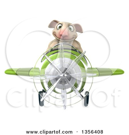 Clipart of a 3d Sheep Aviatior Pilot Flying a Green Airplane, on a White Background - Royalty Free Illustration by Julos