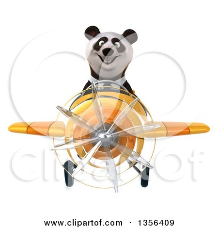 Clipart of a 3d Business Panda Flying a Yellow Airplane, on a White Background - Royalty Free Illustration by Julos