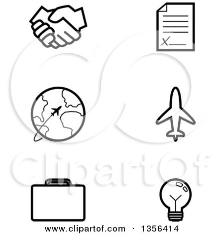 Clipart of Black and White Lineart Business and Travel Icons - Royalty Free Vector Illustration by Cory Thoman