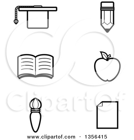 Clipart of Black and White Lineart Educational Icons - Royalty Free Vector Illustration by Cory Thoman