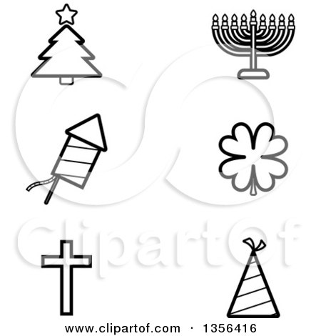 Clipart of Black and White Lineart Christmas, Hanukkah, Fourth of July, St Patricks Day, Easter and New Year or Birthday Holiday Icons - Royalty Free Vector Illustration by Cory Thoman